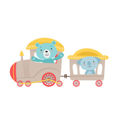 Cheerful red cheeked bear and koala driving toy vector