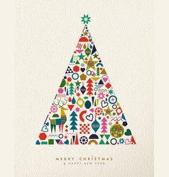 Christmas and new year retro geometric icon tree vector