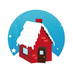 color circular frame with house in winter vector image