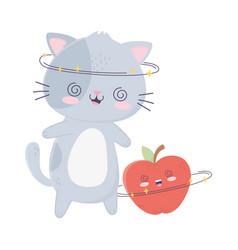 Cute cheerful cat and apple kawaii cartoon vector