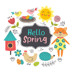 cute poster with spring elements and characters vector image