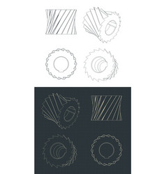 Cylindrical milling cutter blueprints vector