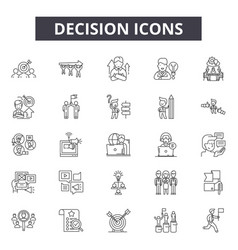 Decision line icons signs set outline vector