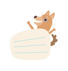 Dog holding empty lined sheet paper cute vector
