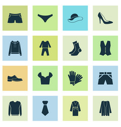 Dress icons set with sweatshirt glove knickers vector