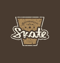 Emblem with rough texture for skate club vector