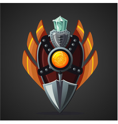 fantasy shield magic weapon with crystal game vector image