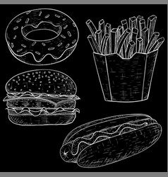 fast food set hand drawn sketch on blackboard vector image
