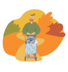 father and son autumn vector image