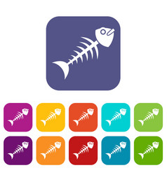 Fish bone icons set flat vector