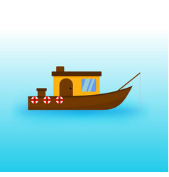 Fisherman sailing ship transportation vector