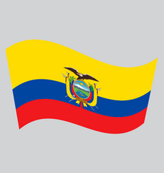 Flag of ecuador waving on gray background vector