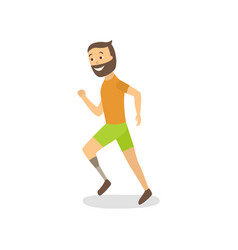 Flat athlete running with foot prosthesis vector