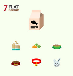 Flat icon animal set of bunny fish nutrient vector