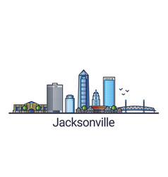 Flat line jacksonville banner vector