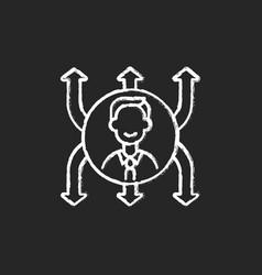 Flexibility chalk white icon on black background vector