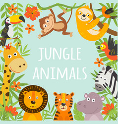 Frame with tropical animals and plants vector