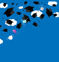 Funny graduation corner background with bonnets vector