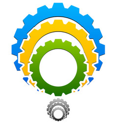 gear-gearwheel icon emblem with tricolor and vector image