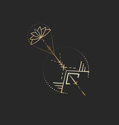 Geometric tattoo design gold mystic arrow with vector