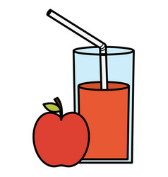 Glass with juice of apple vector