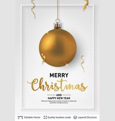 golden christmas ball and text on light background vector image