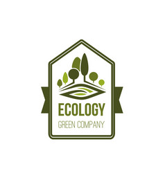 green trees nature and ecology company icon vector image