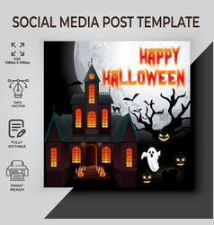 Happy halloween post template design vector