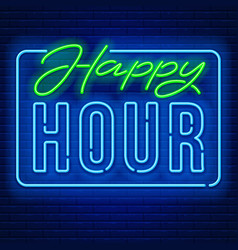 Happy hour neon sign vector
