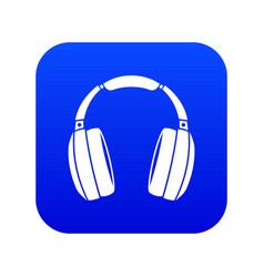 headphones icon digital blue vector image