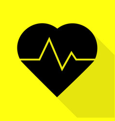 heartbeat sign black icon with flat vector image