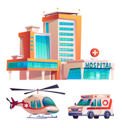 hospital building helicopter and ambulance set vector image
