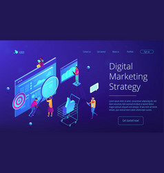 Isometric digital marketing strategy landing page vector
