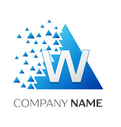 letter w logo symbol on colorful triangle vector image