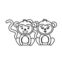 Line cute couple monkey wild animal with beautiful vector