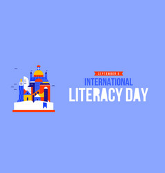 Literacy day web banner open book story city vector