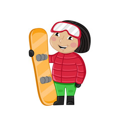 little girl in winter clothes holding skateboard vector image