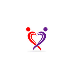 love heart valentine couple logo vector image