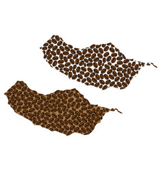 Madeira - map of coffee bean vector