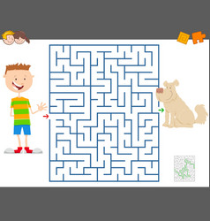 maze game with cartoon boy and his dog vector image