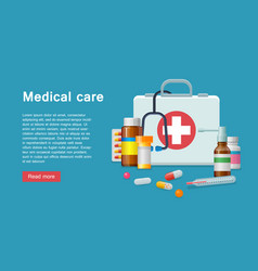 Medicine first aid supplies banner vector
