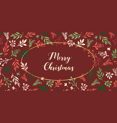 merry christmas holiday card vintage red vector image