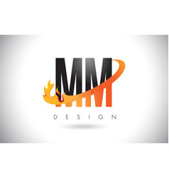 Mm m m letter logo with fire flames design and vector
