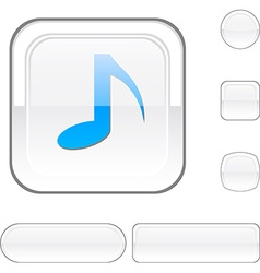 Music white button vector