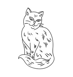 Nebelung icon in outline style isolated on white vector