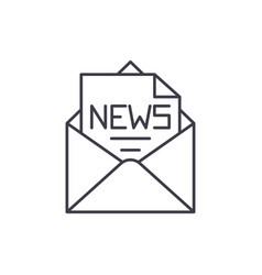 news in an envelope line icon concept news in an vector image
