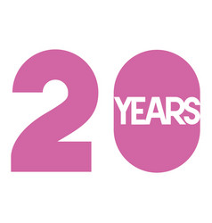 number 20 for anniversary celebration card icon vector image