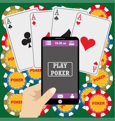 Online poker app on tablet touch screen vector