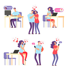 online romantic dating man and woman cute vector image