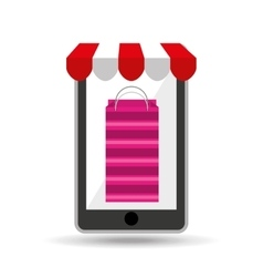 online shopping pink bag gift design vector image